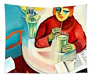 Woman In A Cafe Tapestry