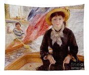 Woman In Boat With Canoeist Tapestry