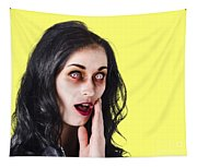 Woman In Horror Makeup Tapestry