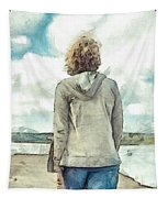 Woman In Rustico Harbor Prince Edward Island Tapestry