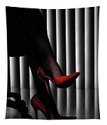 Woman Legs In Red Shoes Tapestry