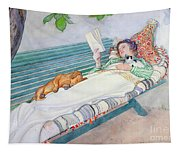Woman Lying On A Bench Tapestry