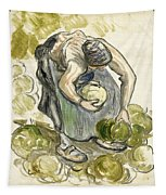 Woman Picking Cabbage Tapestry