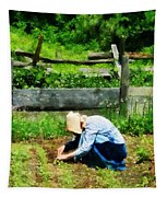 Woman Planting Garden Tapestry