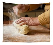 Woman Preparing Dough For Kopytka Tapestry