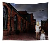 Woman Walking Away With A Child Tapestry