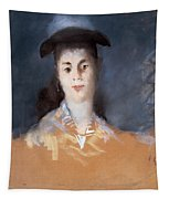 Woman Wearing A Hat With Silk Gauze Tapestry
