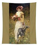 Woman With A Dog Tapestry