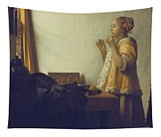 Woman With A Pearl Necklace Tapestry