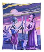 Women Pounding Cassava Tapestry