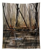 Wood Duck On Pond Tapestry