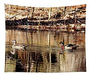Wood Ducks Enjoying The Pond Tapestry