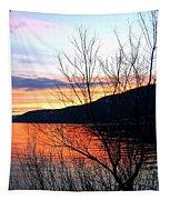 Wood Lake Sunset Tapestry