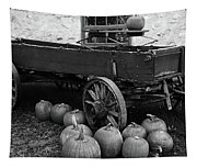 Wood Wagon And Pumpkins Black And White Tapestry