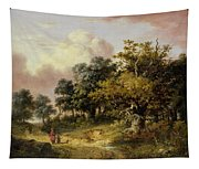 Wooded Landscape With Woman And Child Walking Down A Road  Tapestry