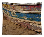 Wooden Boat Washed Paint Tapestry