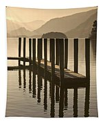 Wooden Dock In The Lake At Sunset Tapestry