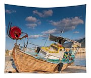 Wooden Fishing Boat On Shore Tapestry