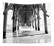 Wooden Post Under A Pier On The Beach Tapestry