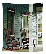 Wooden Rocking Chairs On Porch Tapestry