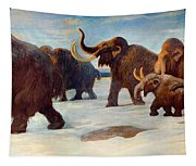 Wooly Mammoths Near The Somme River Tapestry