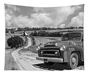 Down On The Farm- International Harvester In Black And White Tapestry
