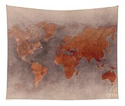 World Map Brown Tapestry