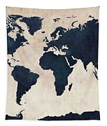 World Map Distressed Navy Tapestry by Michael Tompsett