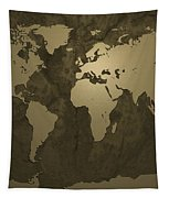 World Map Gold Tapestry by Michael Tompsett