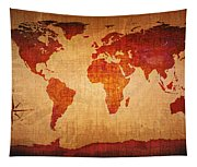 World Map Grunge Style Tapestry