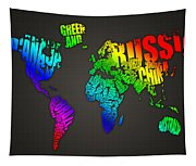 World Map In Words Tapestry