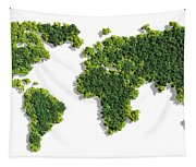 World Map Made Of Green Trees Tapestry