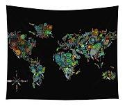 World Map Mandala Feathers 2 Tapestry