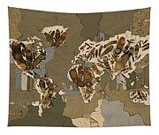 World Map Mandala Feathers 4 Tapestry