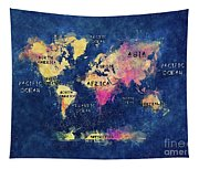 World Map Oceans And Continents Tapestry