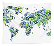 World Map Organic Green And Blue Tapestry