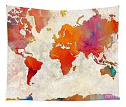 World Map - Rainbow Passion - Abstract - Digital Painting 2 Tapestry