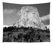Wyoming Devils Tower National Monument With Climbers Bw Tapestry