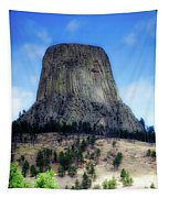 Wyoming Devils Tower With 8 Climbers August 7th 12 36pm 2016 With Inserts Tapestry