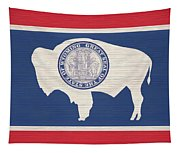 Wyoming Rustic Flag On Wood Tapestry
