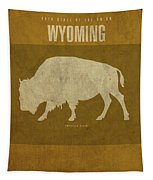 Wyoming State Facts Minimalist Movie Poster Art Tapestry