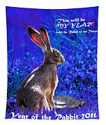 Year Of The Rabbit 2011 . Square Blue Tapestry
