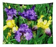 Yellow And Purple Irises Tapestry