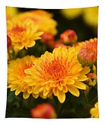 Yellow And Red Autumn Mums Closeup I Tapestry