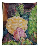 Yellow Cactus Flower Tapestry