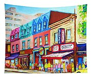 Yellow Car At The Smoked Meat Lineup Tapestry