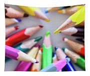 Yellow. Colored Pencils Used By Children Tapestry