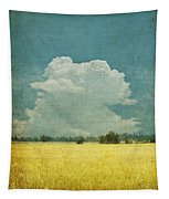 Yellow Field On Old Grunge Paper Tapestry