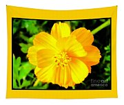 Yellow Flower On Black Background Tapestry