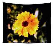 Yellow Flower With Rain Drops Tapestry